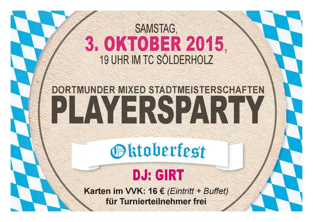 Playersparty 3. Oktober 2015